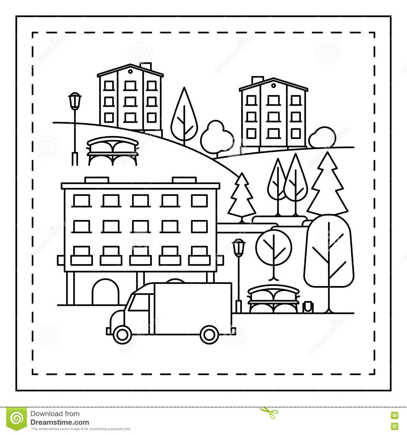 Coloring Page With City Landscape Stock Vector