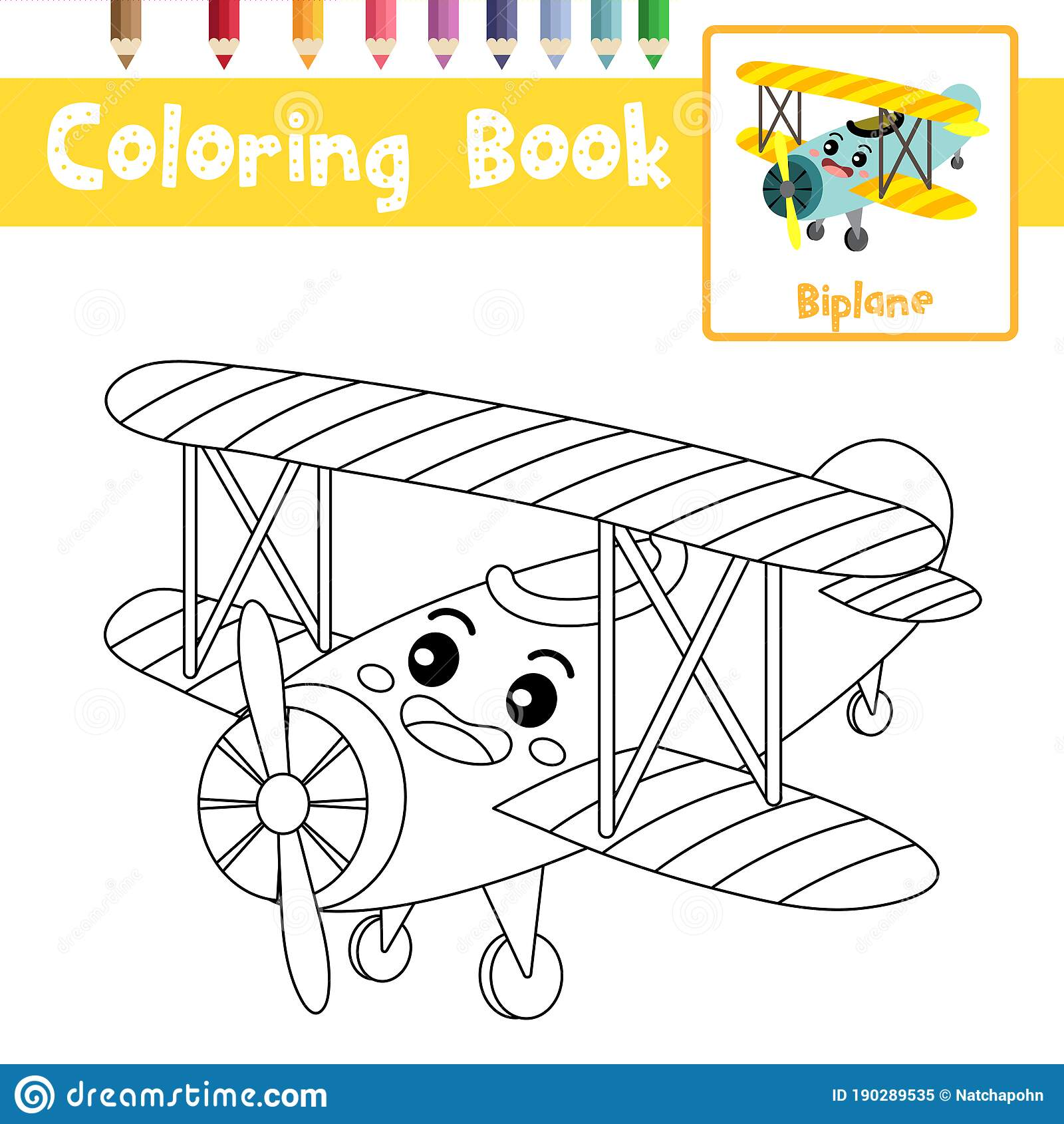 Coloring Page Biplane Cartoon Character Perspective View