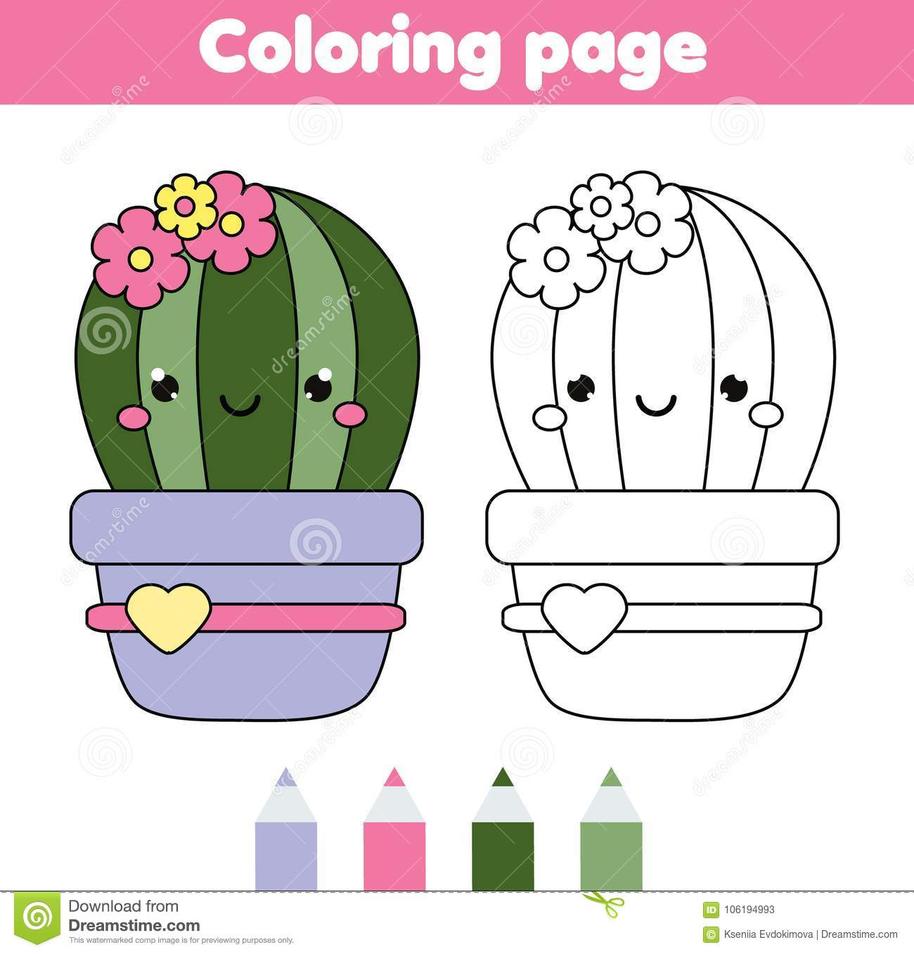 Coloring Page With Cute Cactus Drawing Kids Game