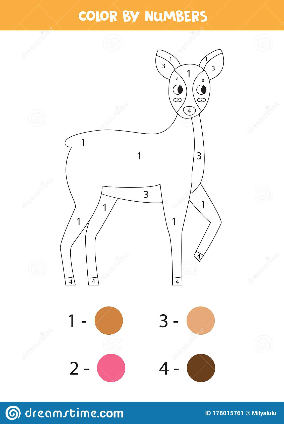 Coloring Page With Cute Cartoon Roe Deer Color By Numbers