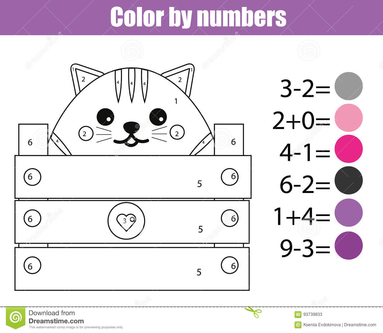 Coloring Page With Cute Cat Character Color By Numbers