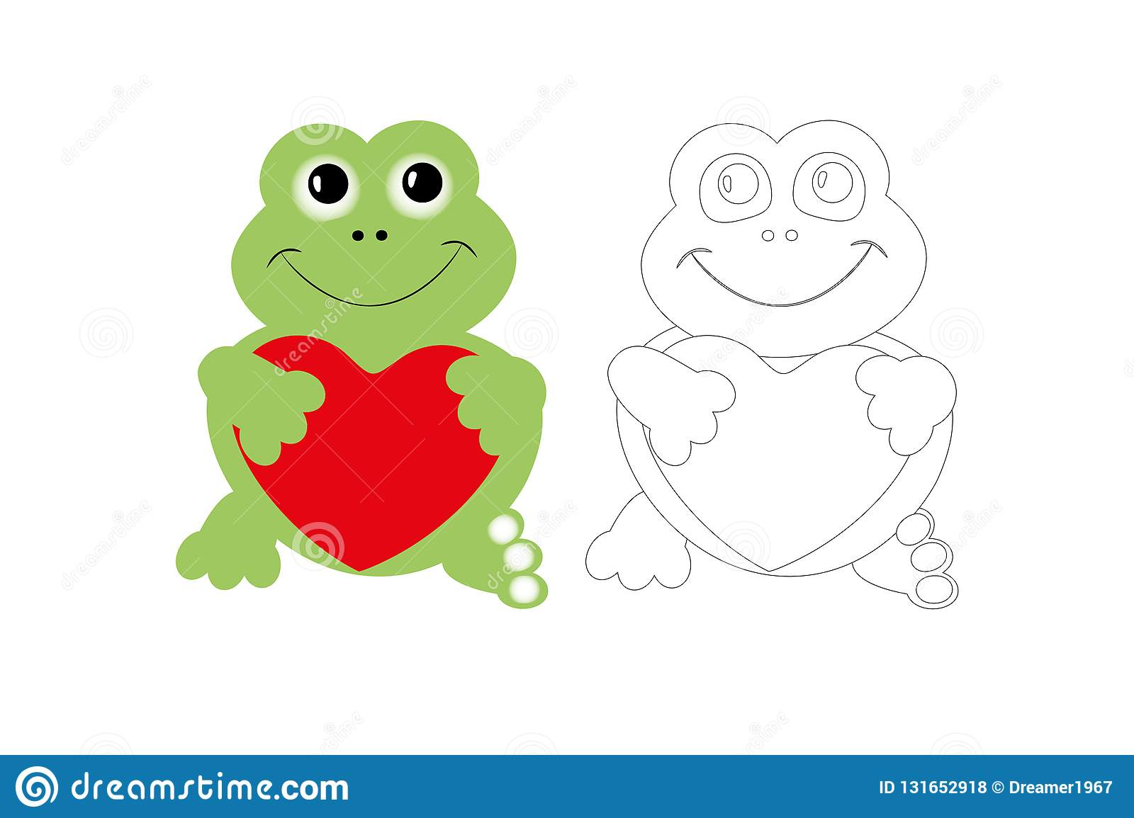 Coloring Page Of Cute Frog With Colorful Sample Printable