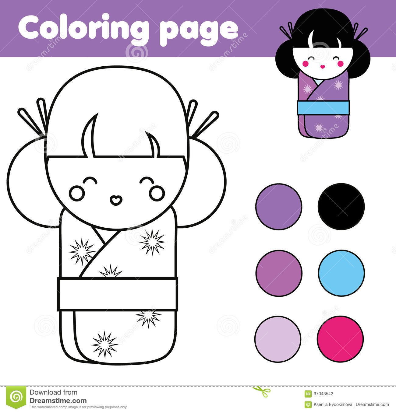 Coloring Page With Cute Japanese Kokeshi Doll Children