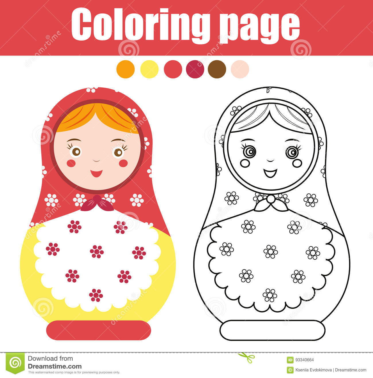 Coloring Page With Cute Russian Nesting Doll Children