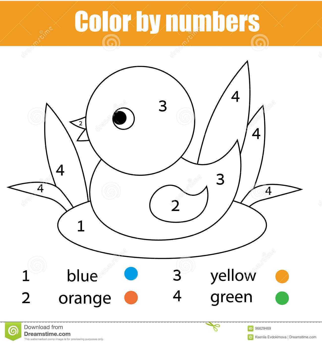 Coloring Page With Duck Bird Color By Numbers Educational Children Game Drawing Kids Activity