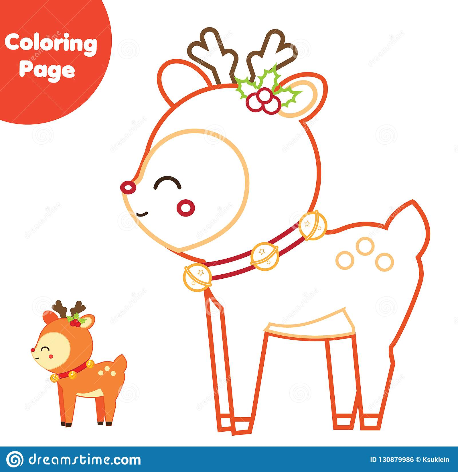 Coloring Page Educational Children Game Color Christmas
