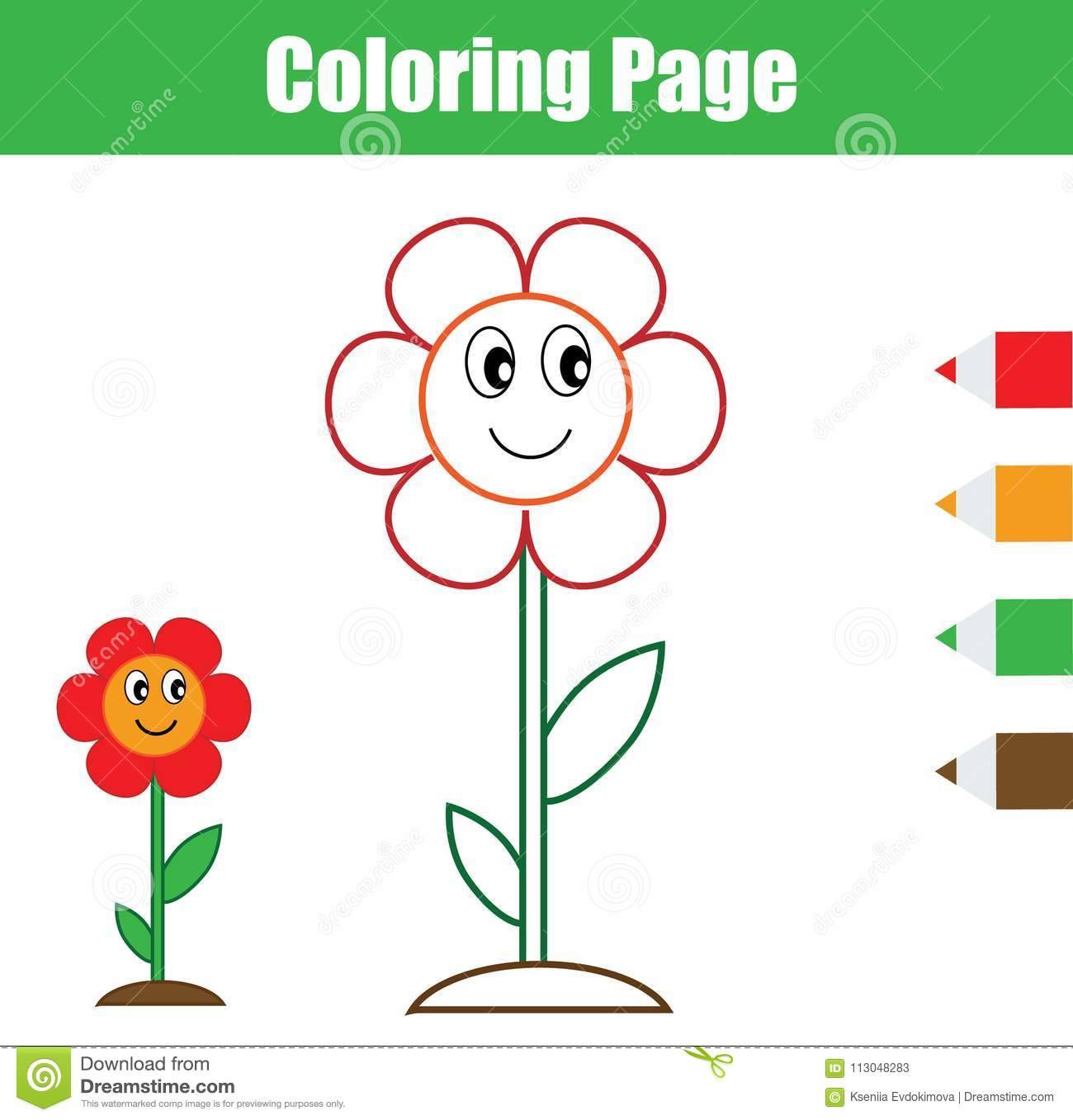Coloring Page Educational Children Game Flower Drawing