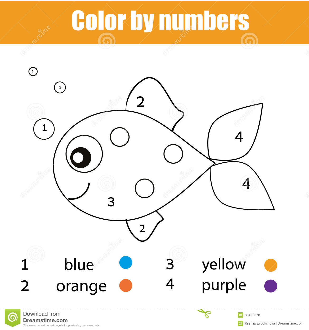 Coloring Page With Fish Character Color By Numbers