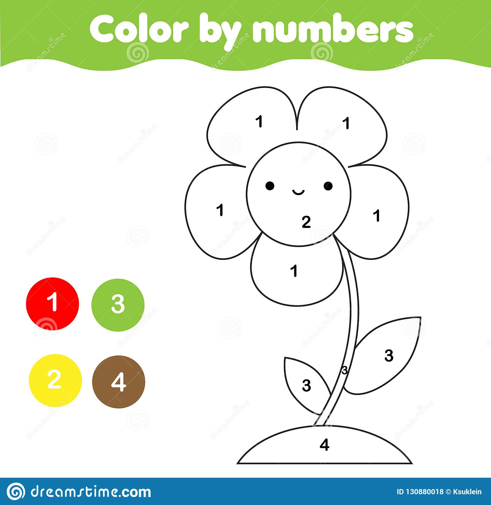 Coloring Page With Flower Color By Numbers Printable