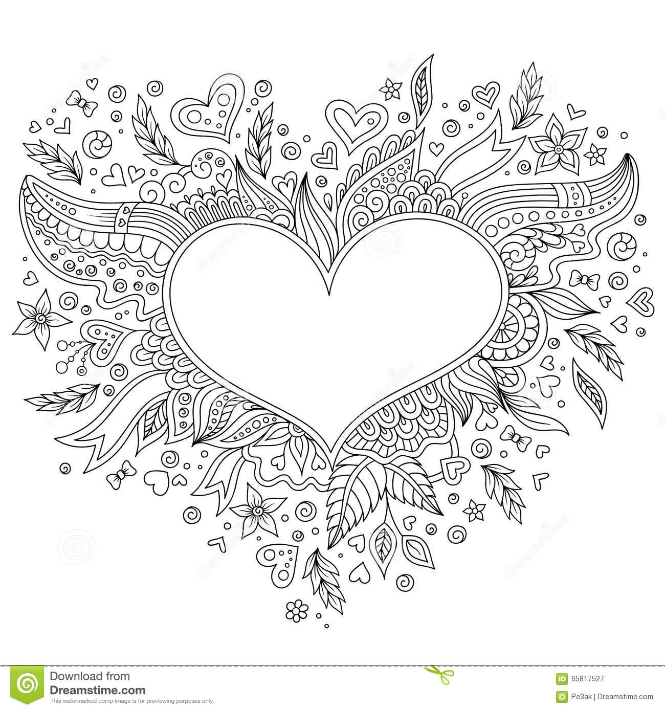 Coloring Page Flower Heart St Valentine S Day Stock Vector