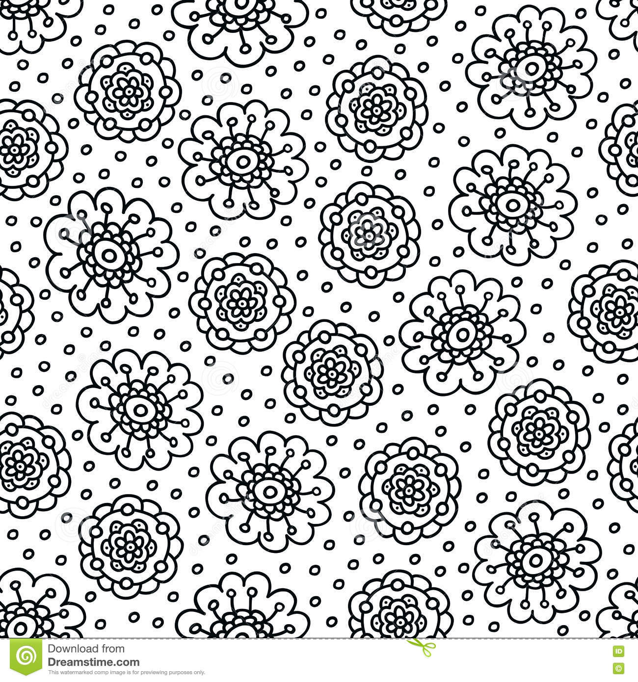 Coloring Page Flower Pattern Seamless Hand Drawn