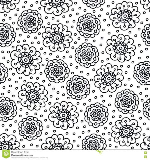 Coloring Page Flower Pattern. Seamless Hand Drawn Background Book. Black And White