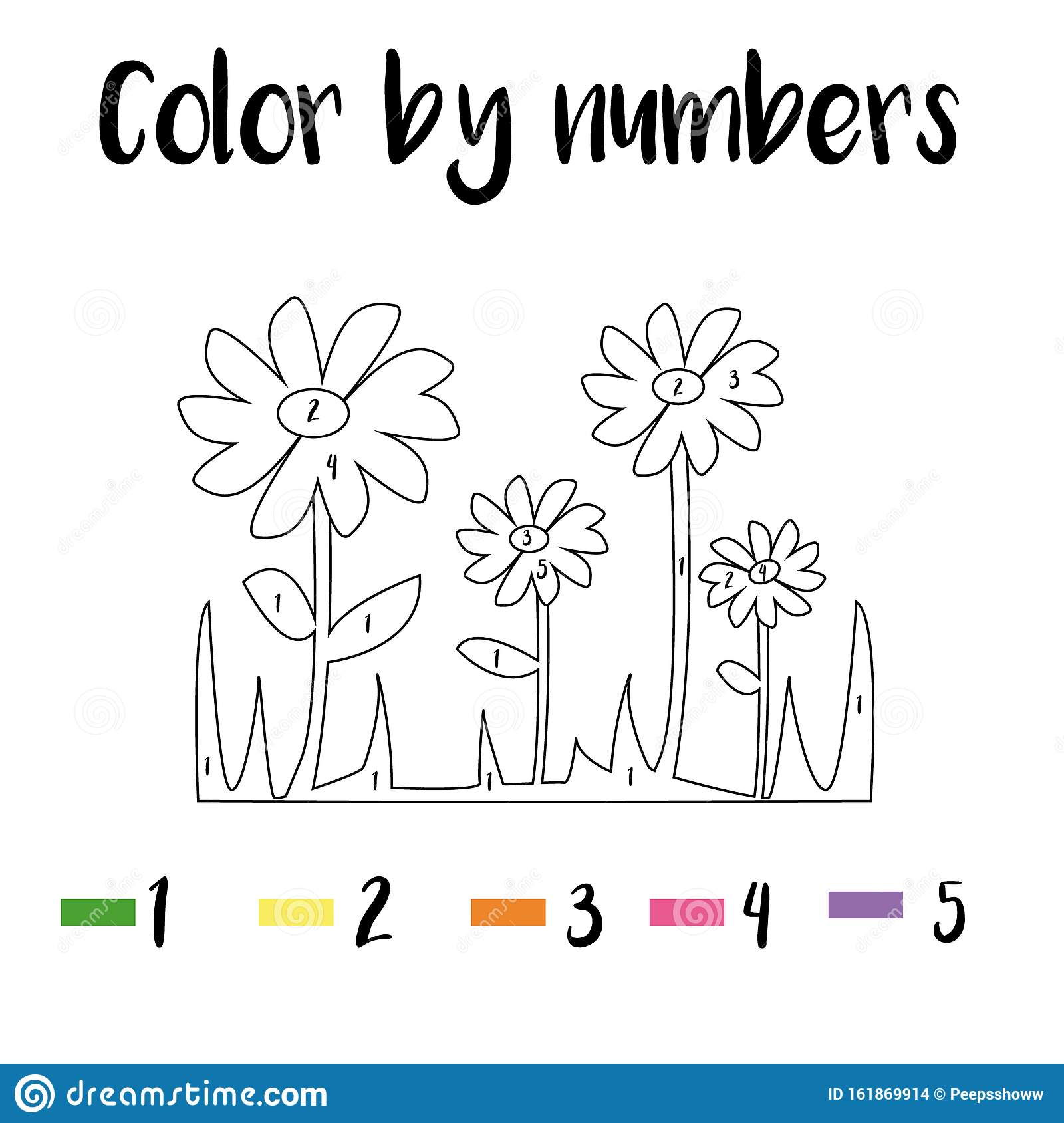 Coloring Page With Flowers Color By Numbers Educational