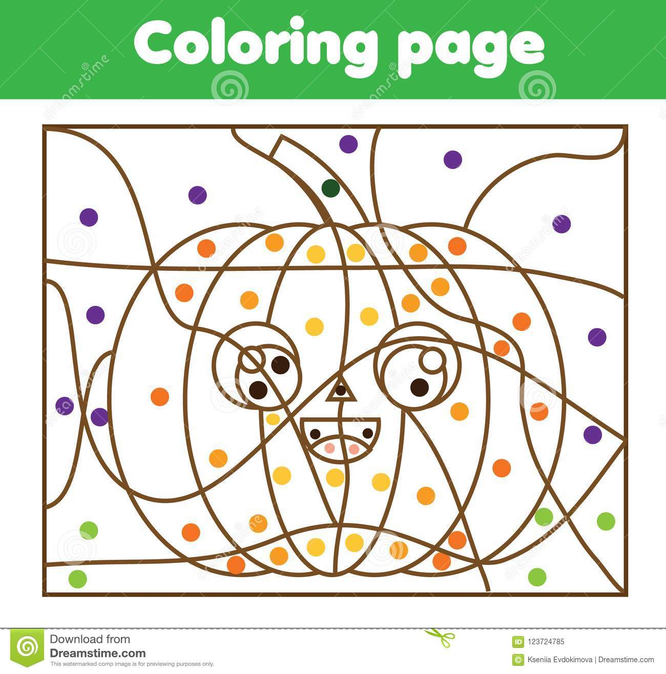 Coloring Page With Halloween Pumpkin Color By Dots