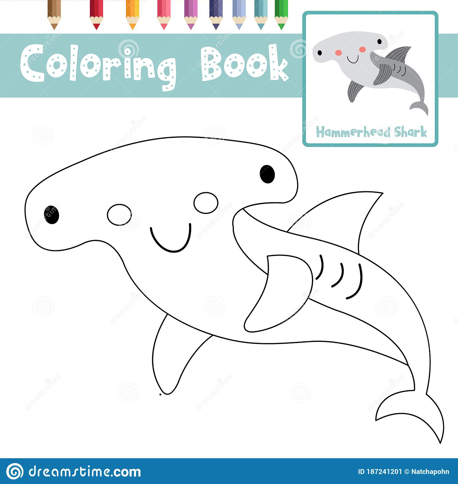 Coloring Page Hammerhead Shark Animal Cartoon Character
