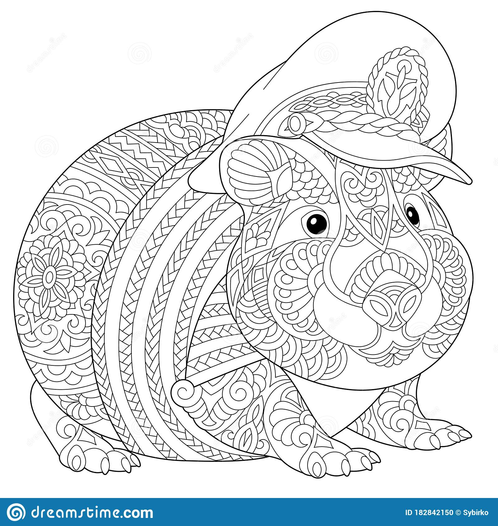 Coloring Page With Hamster Or Guinea Pig Stock Vector