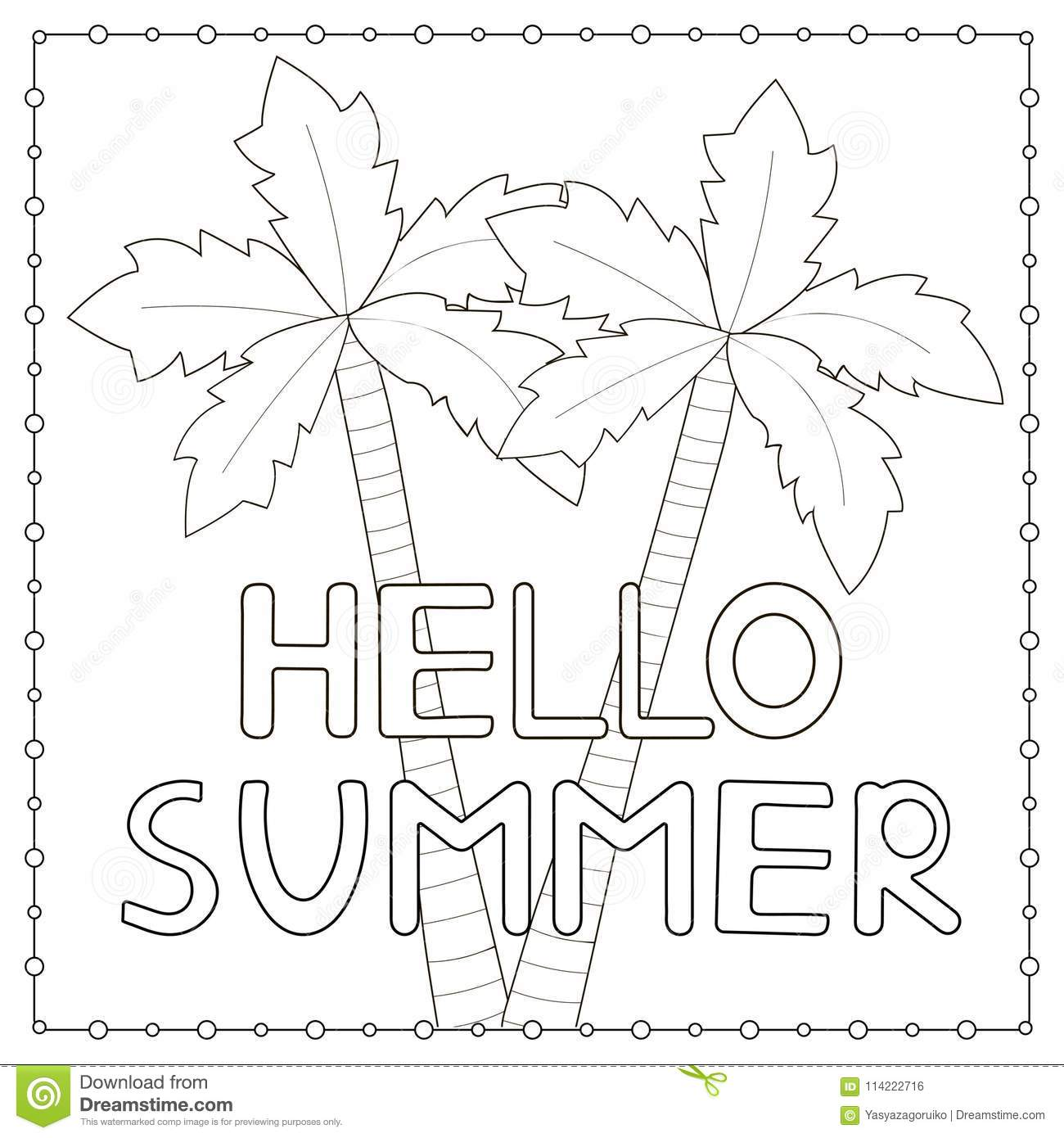 Coloring Page With Hand Drawn Text Hello Summer And Palm