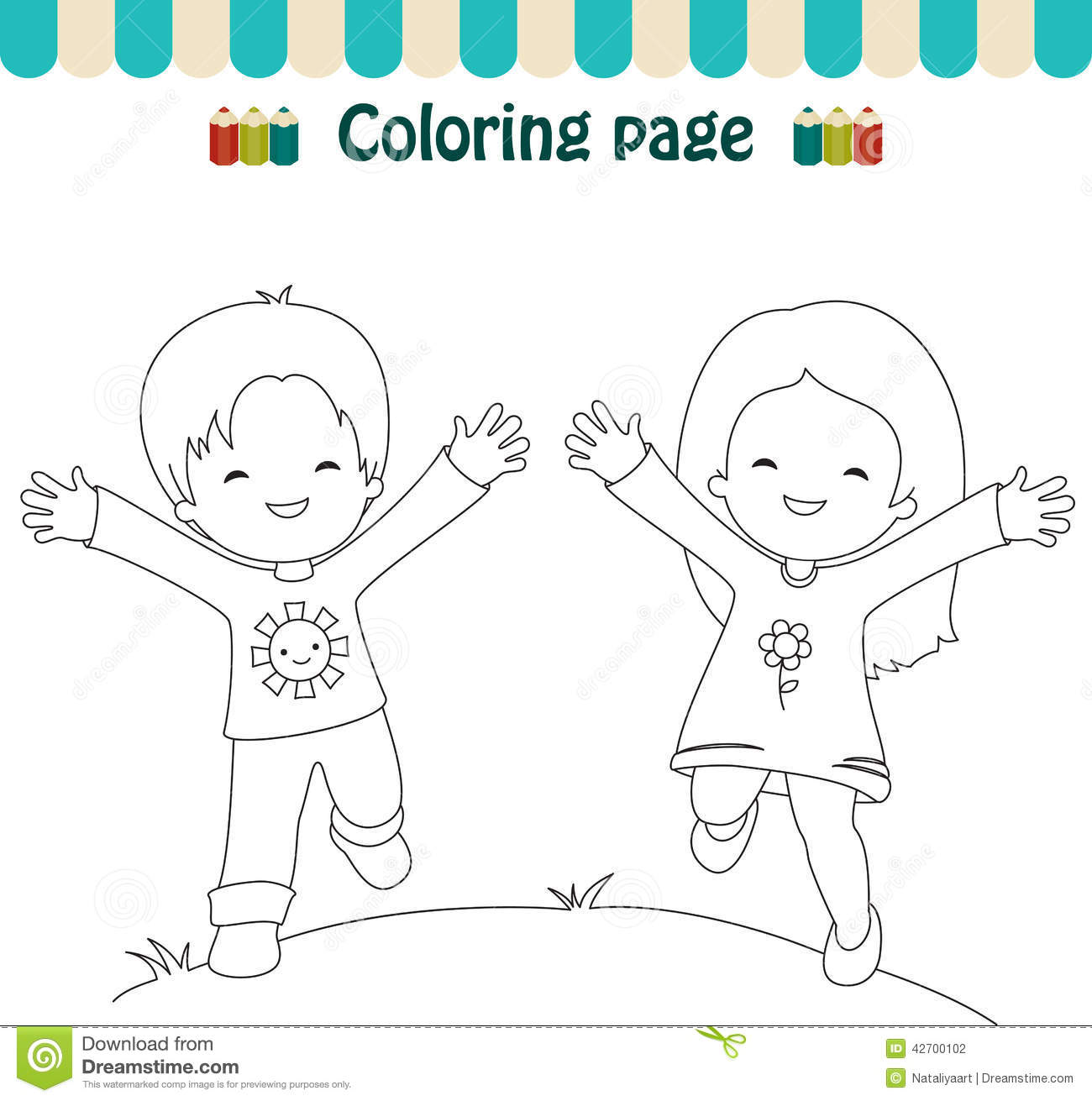 Coloring Page Happy Kids Stock Vector Illustration Of