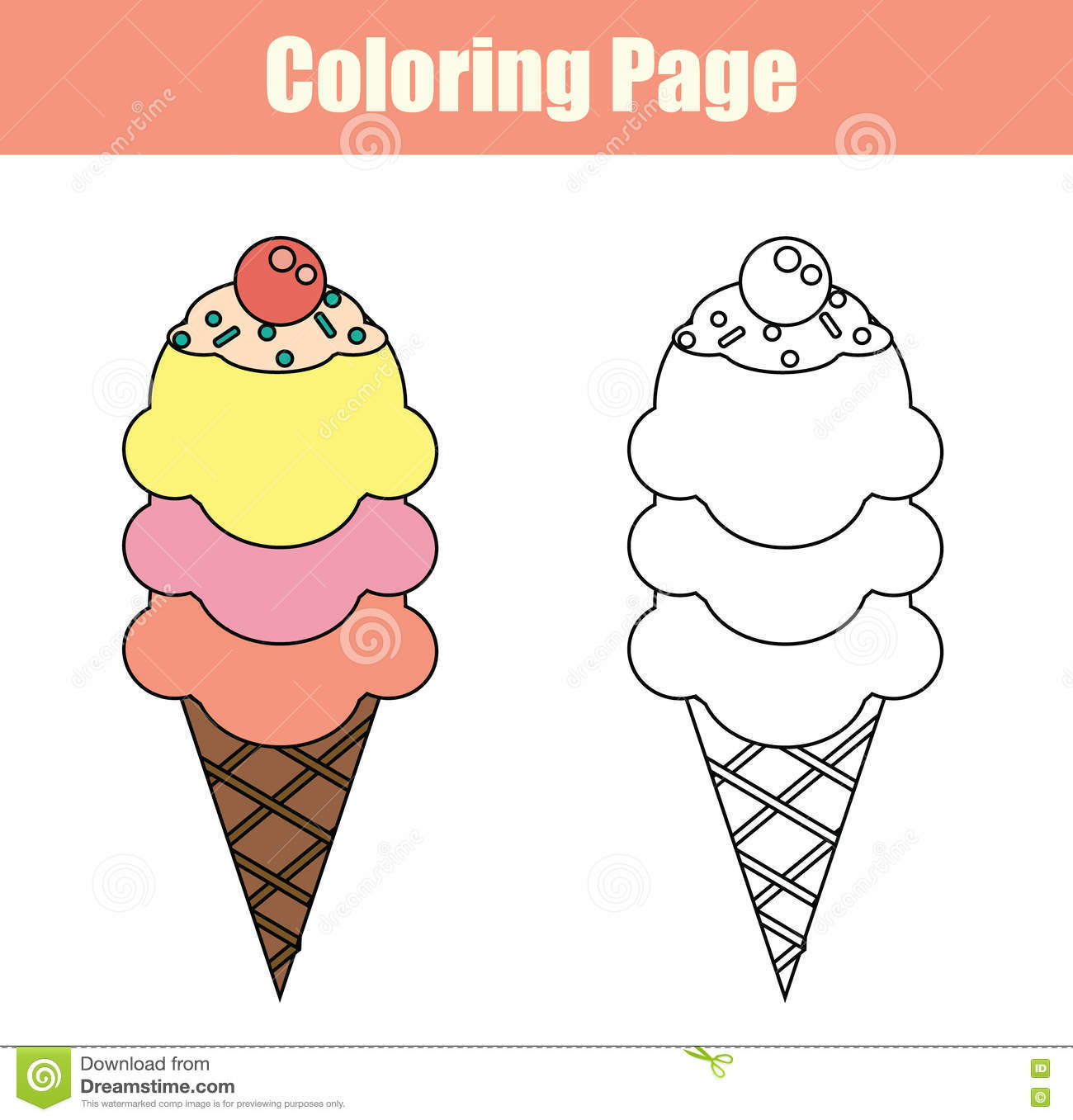 Coloring Page With Ice Cream Stock Vector