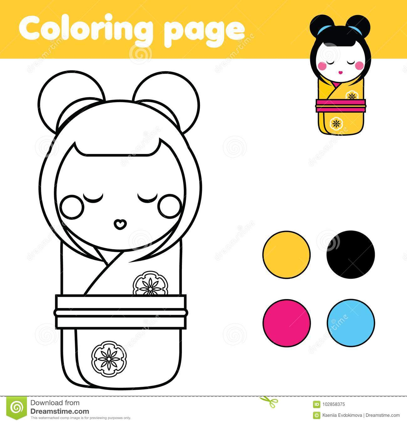 Coloring Page With Japanese Kokeshi Doll Drawing Kids