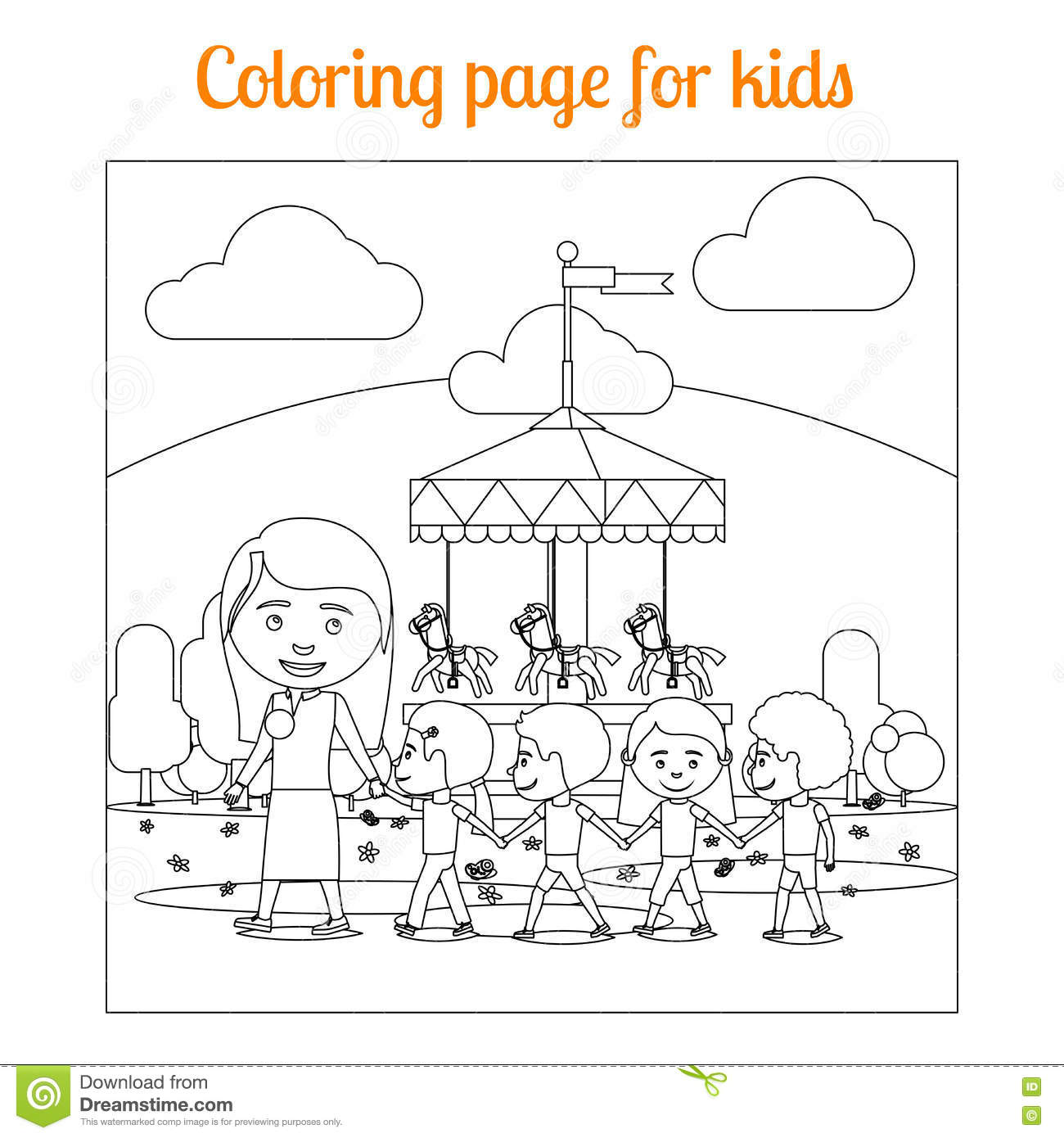 Coloring Page For Kids Amusement Park Stock Vector