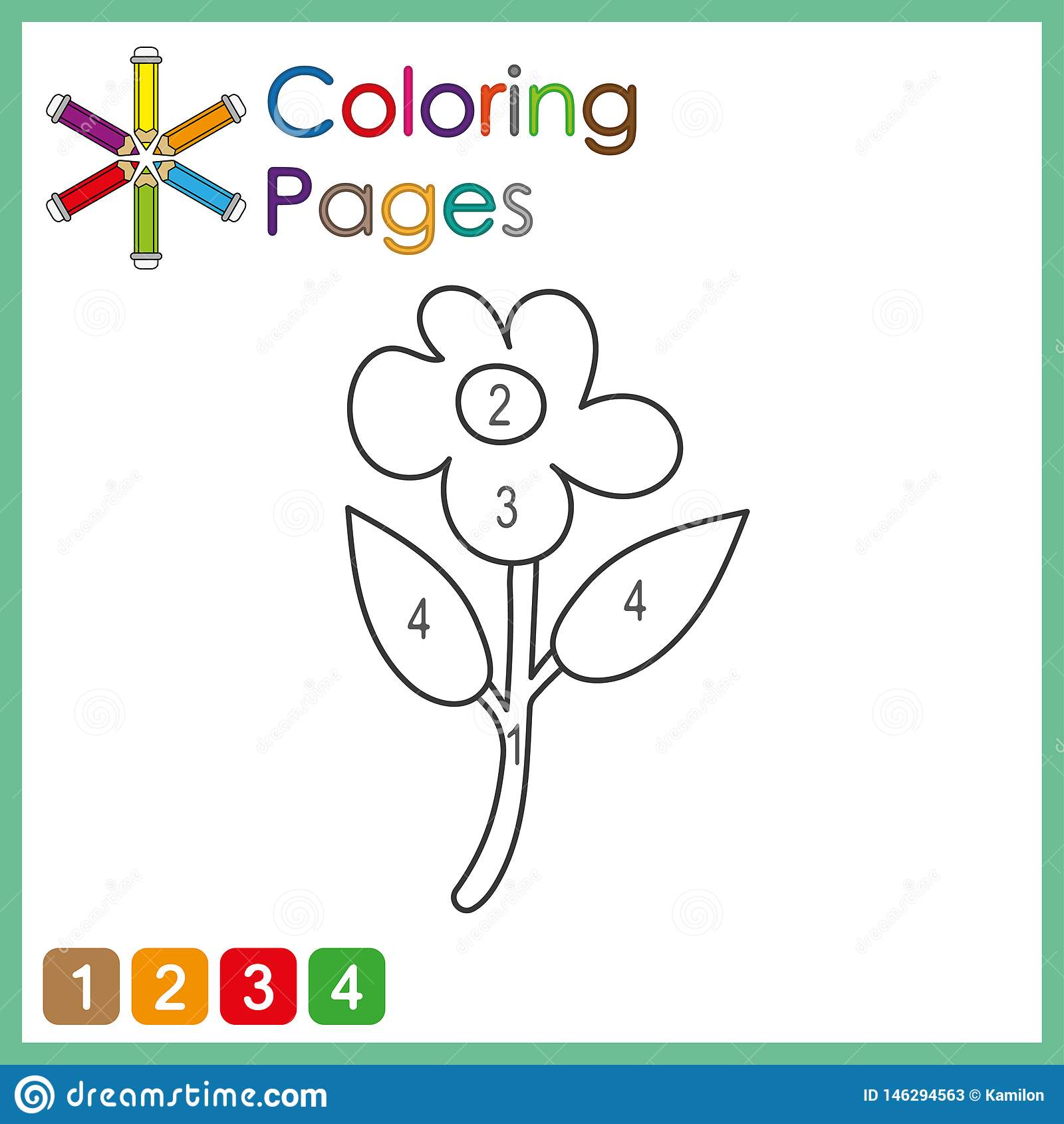 Coloring Page For Kids Color The Parts Of The Object