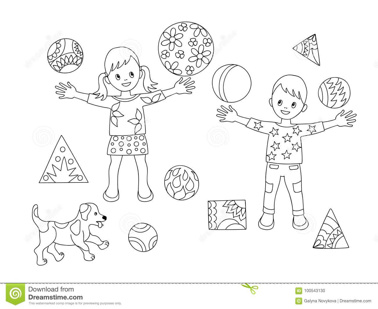 Coloring Page Kids And Puppy Stock Vector