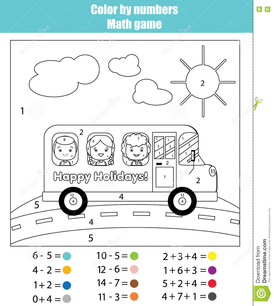 Paint Color By Addition And Subtraction Numbers Vector Illustration