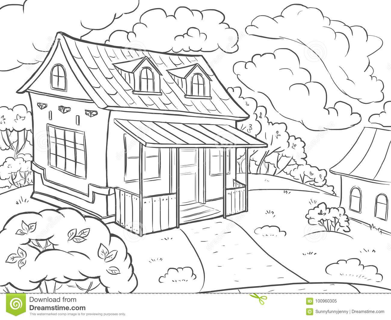 Coloring Page Landscape House In The Summer Stock