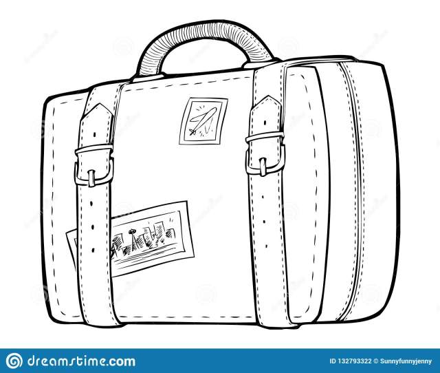 Coloring Page - Line Art Travel Bag, Luggage Stock Vector