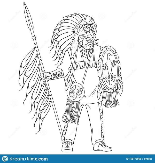 Coloring Page With Native American Indian Man Stock Vector