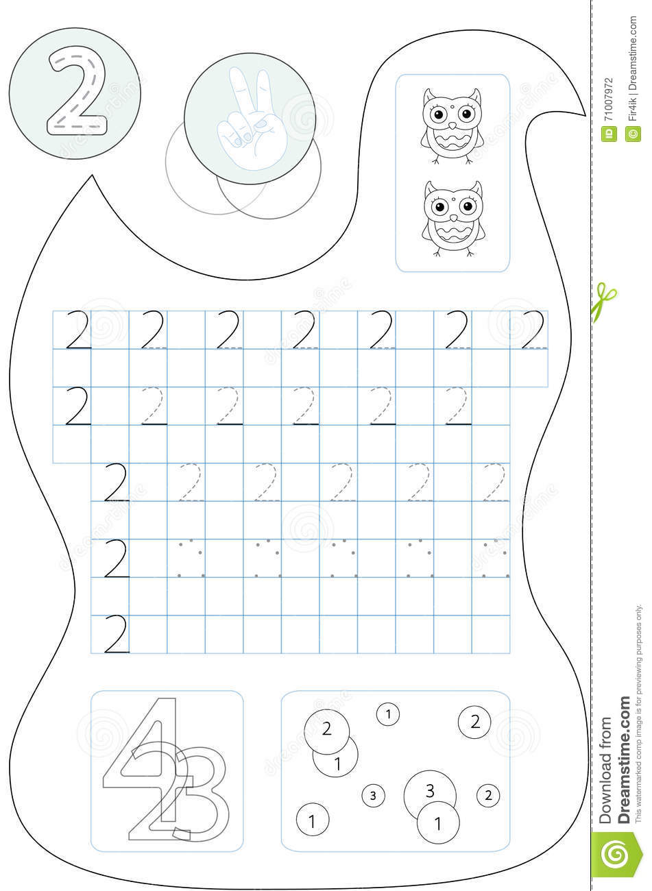 Coloring Page Number Two Printable Worksheet Stock Vector