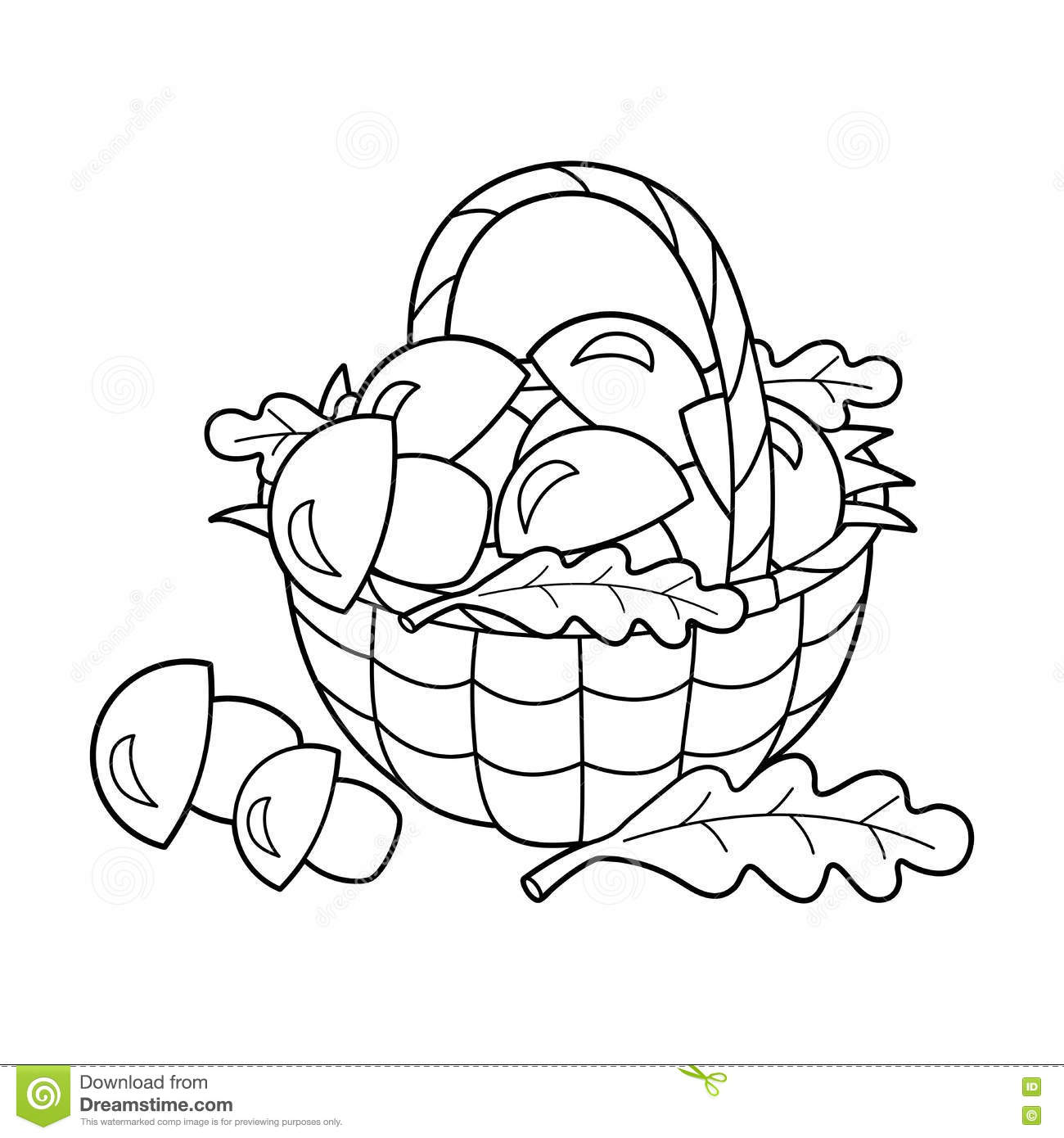 Coloring Page Outline Of Basket Of Mushrooms. Summer Gifts