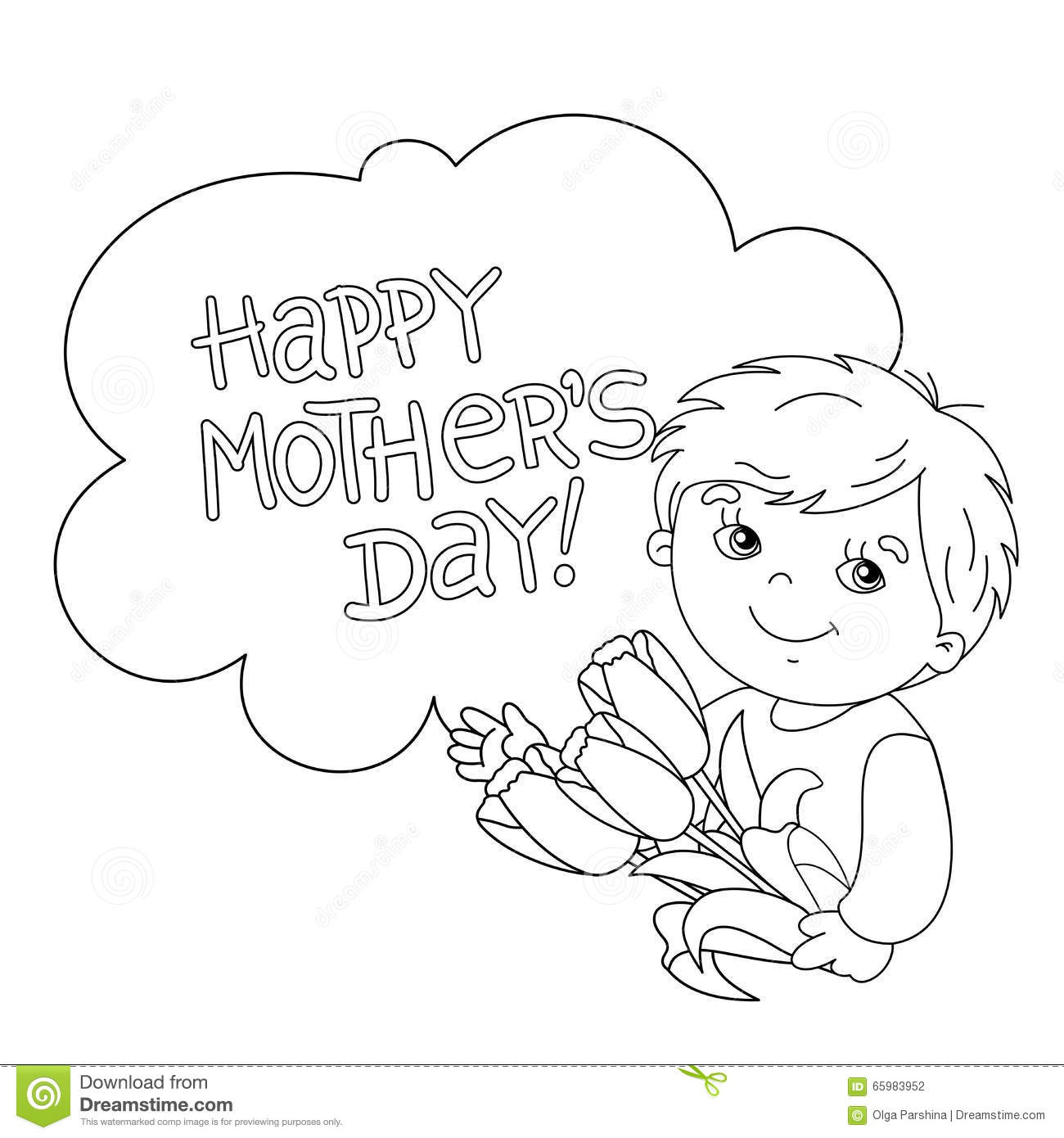Coloring Page Outline Of Boy With Flowers Mother S Day