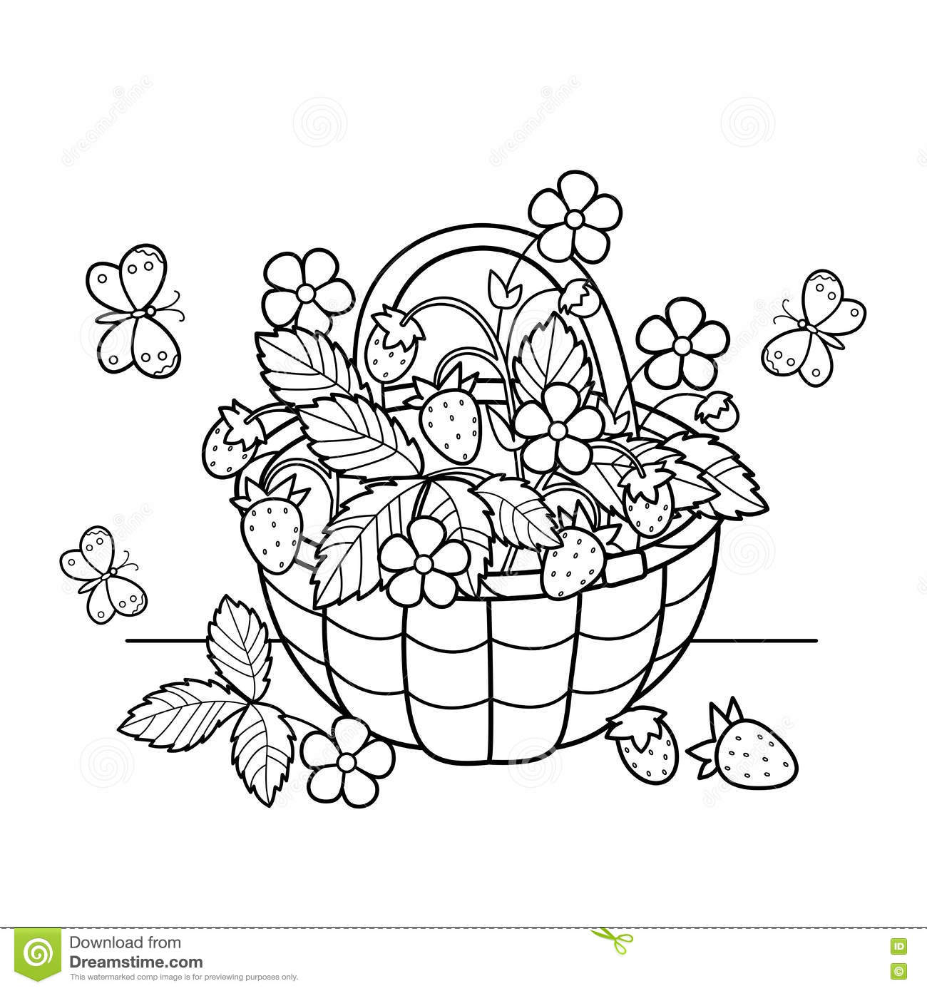 Coloring Page Outline Of Cartoon Basket Of Berries Garden