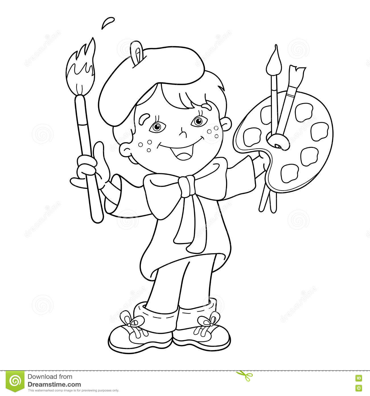 Boy Outline Page Coloring Pages