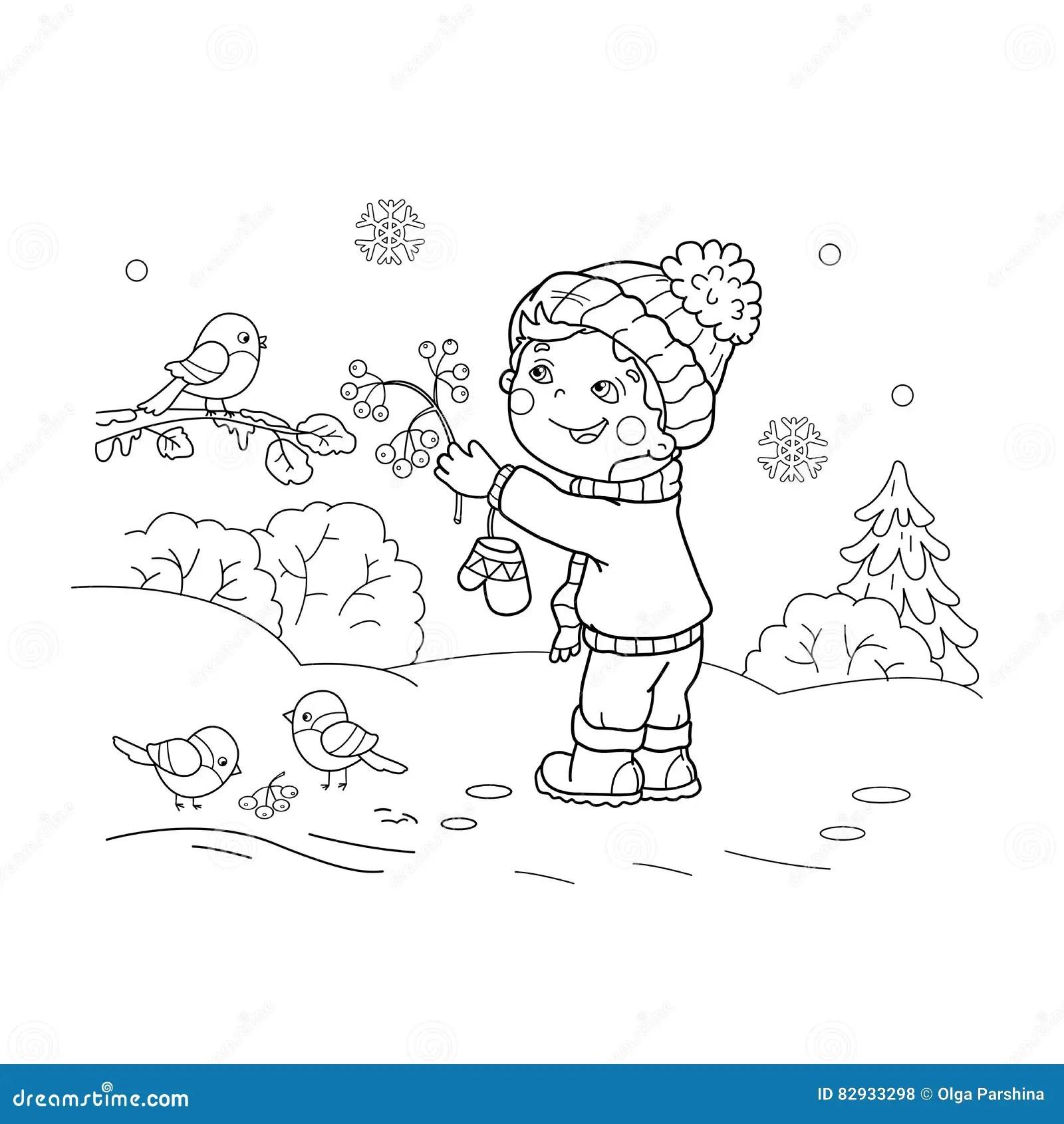 Coloring Page Outline Of Cartoon Boy Feeding Birds. Stock