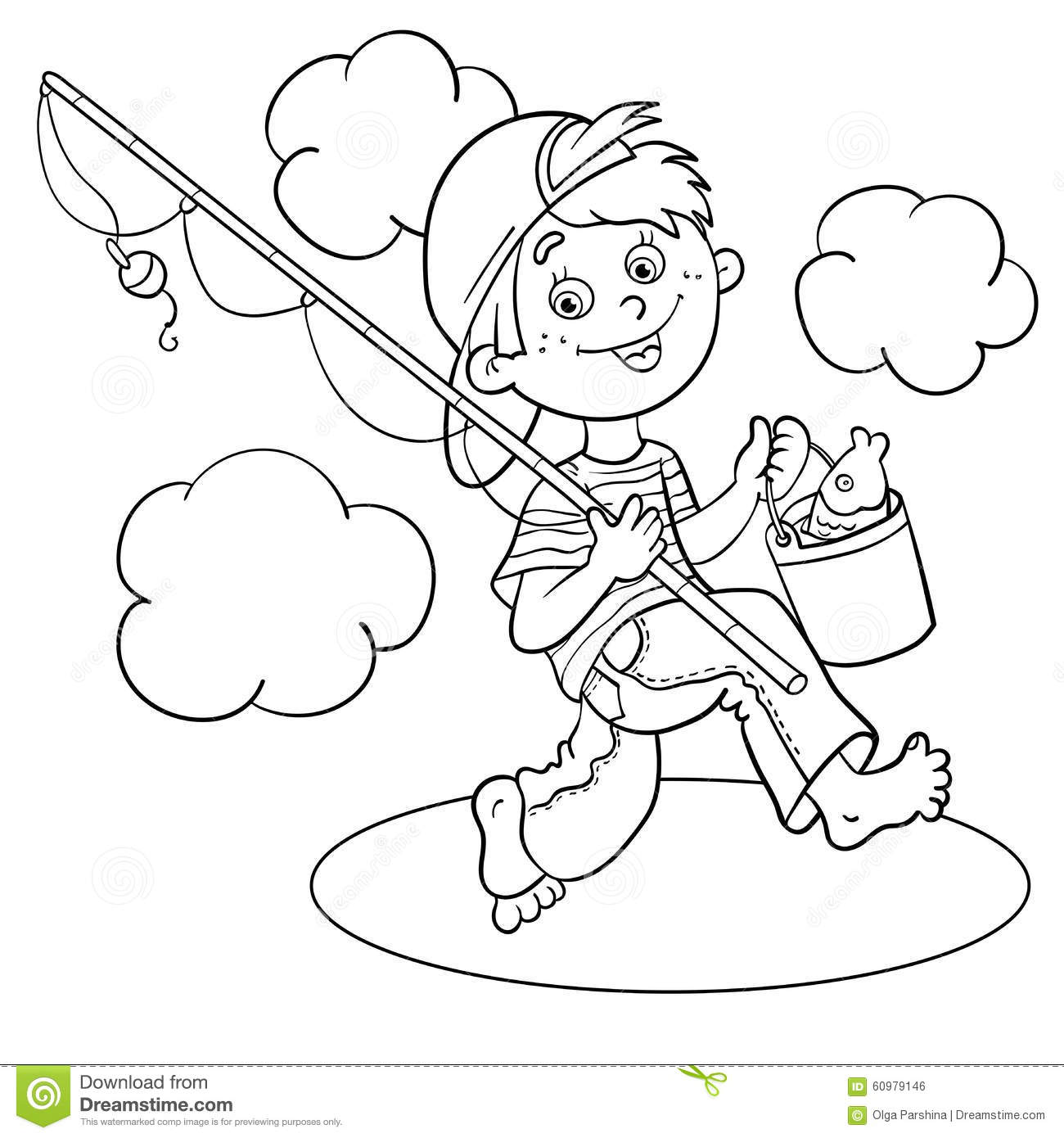 Coloring Page Outline Of A Cartoon Boy Fisherman Stock Photo