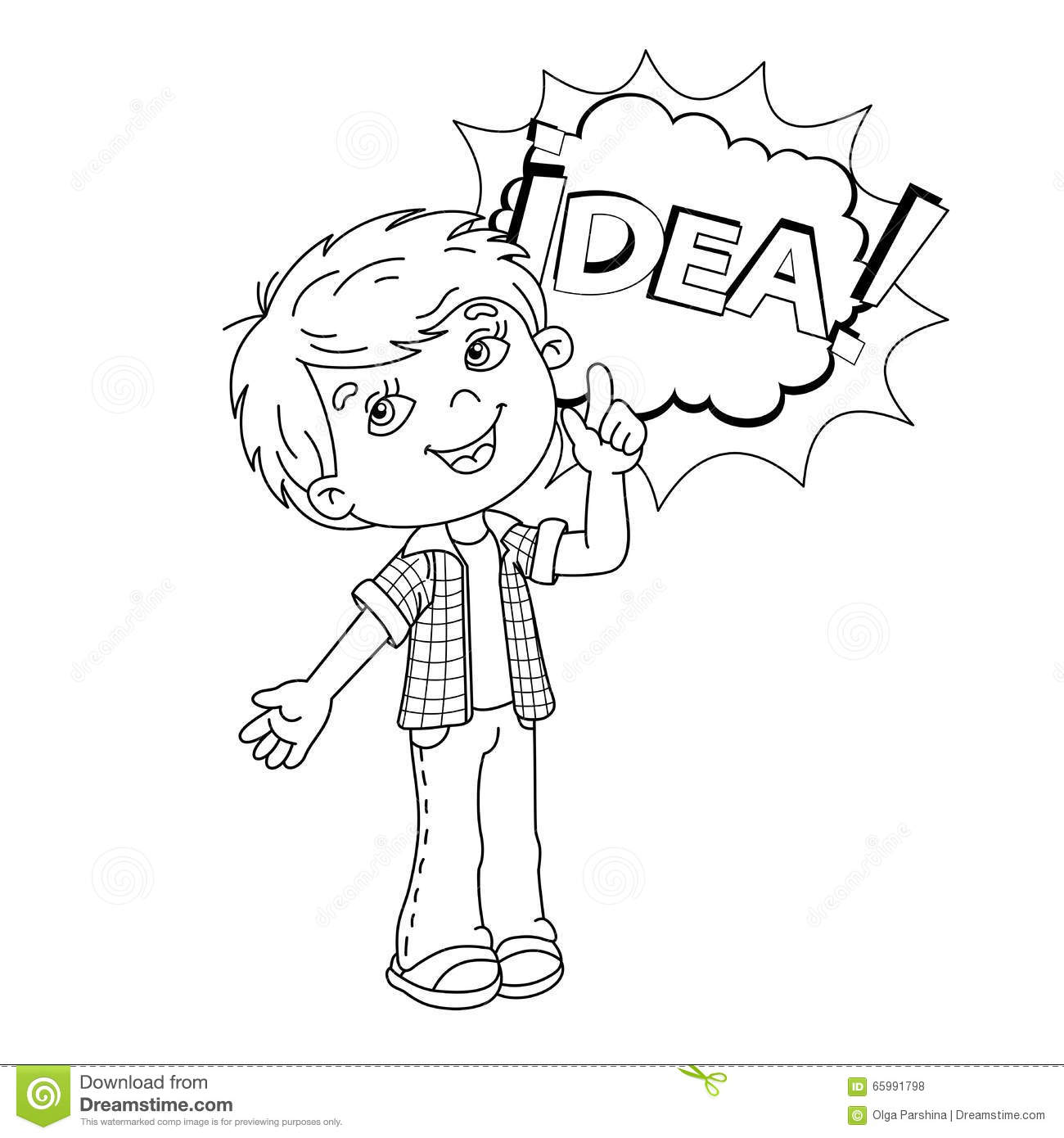 Coloring Page Outline Of Cartoon Boy With Great Idea Stock
