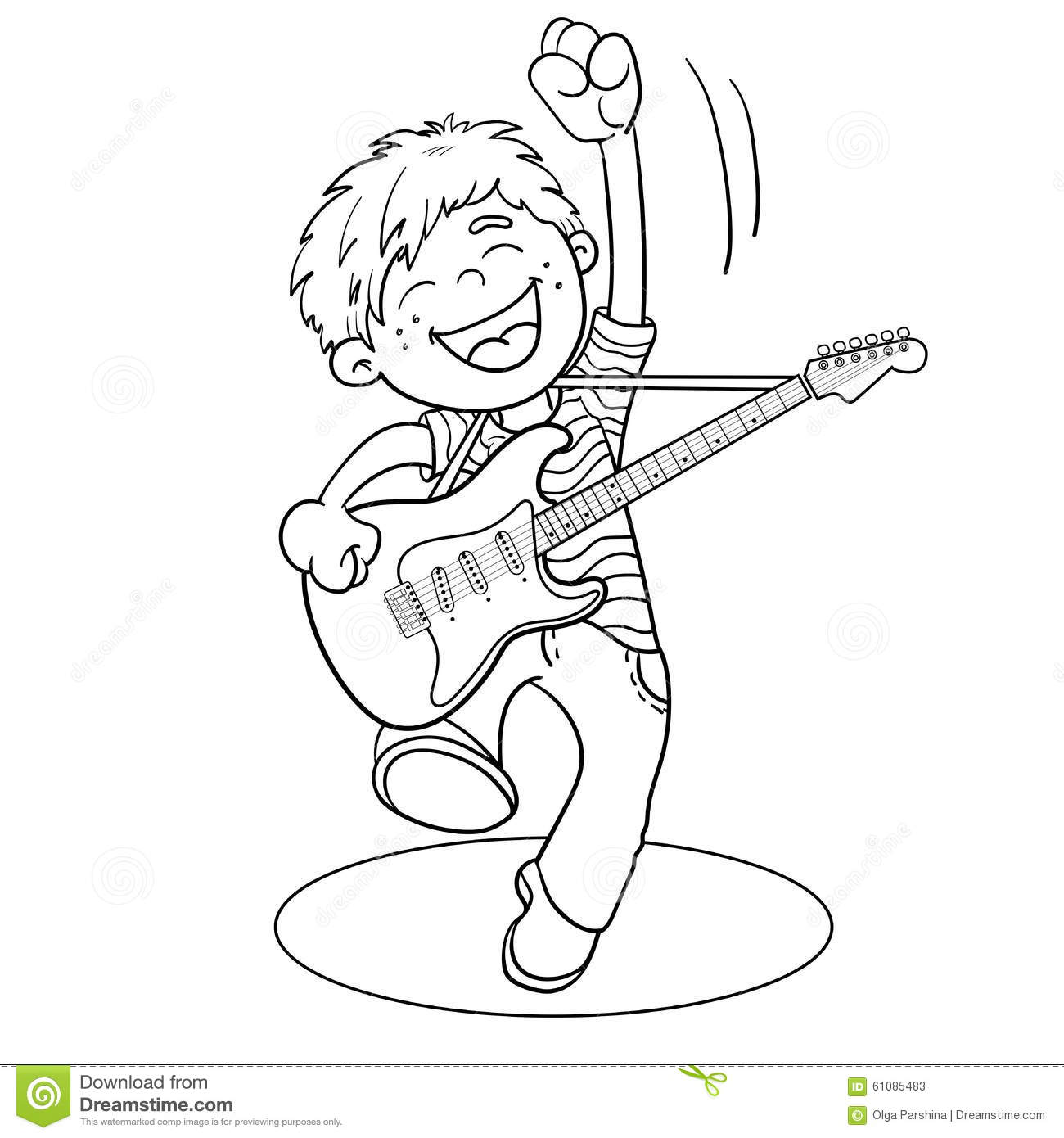 Coloring Page Outline Of A Cartoon Boy With A Guitar Stock