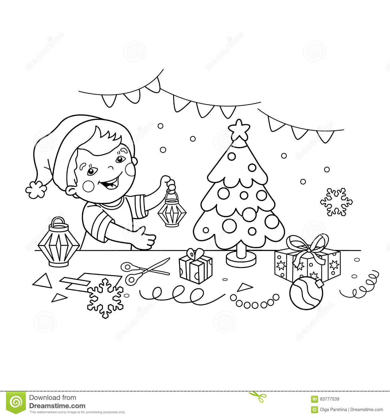 Coloring Page Outline Of Cartoon Boy Making Christmas