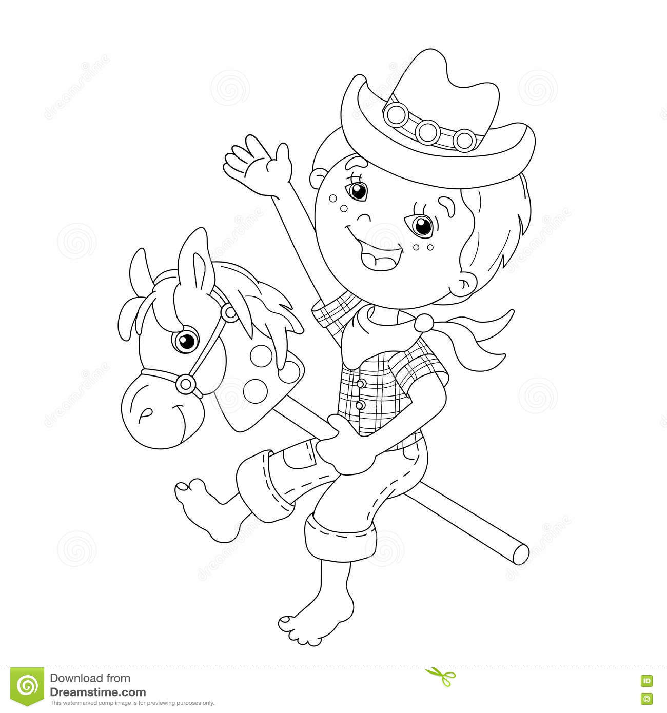 Coloring Page Outline Of Cartoon Boy Playing Cowboy With