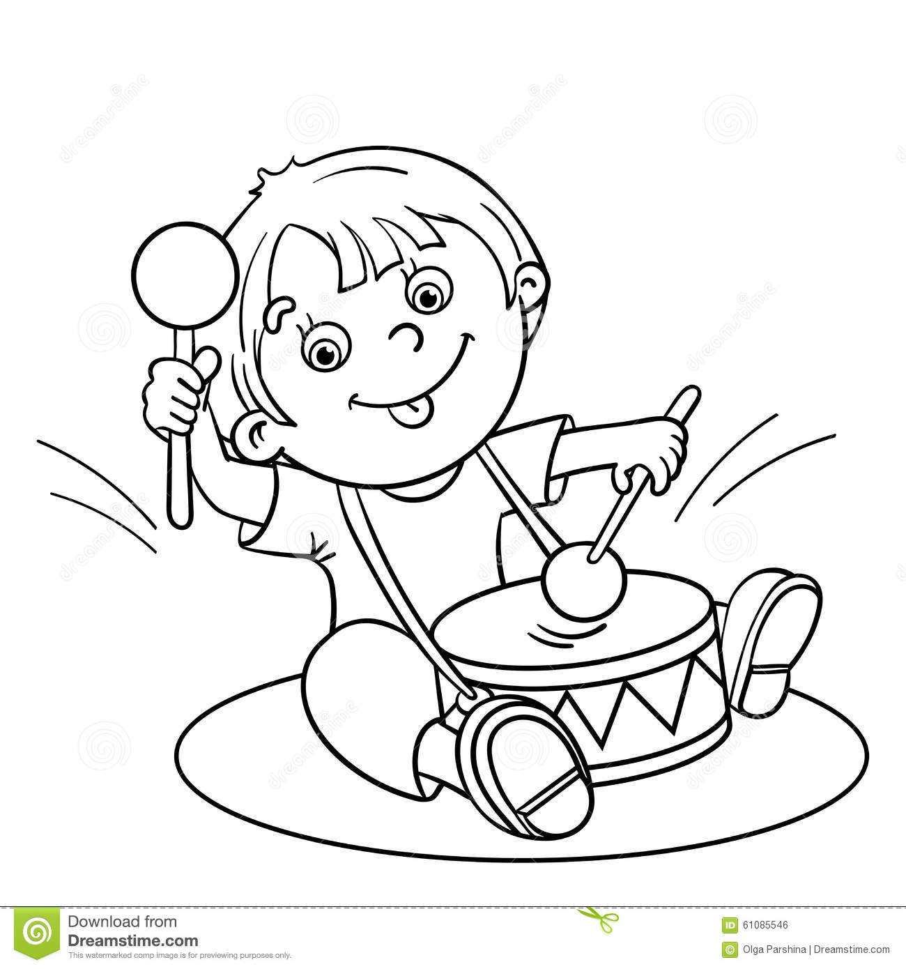 Coloring Page Outline Of A Cartoon Boy Playing The Drum
