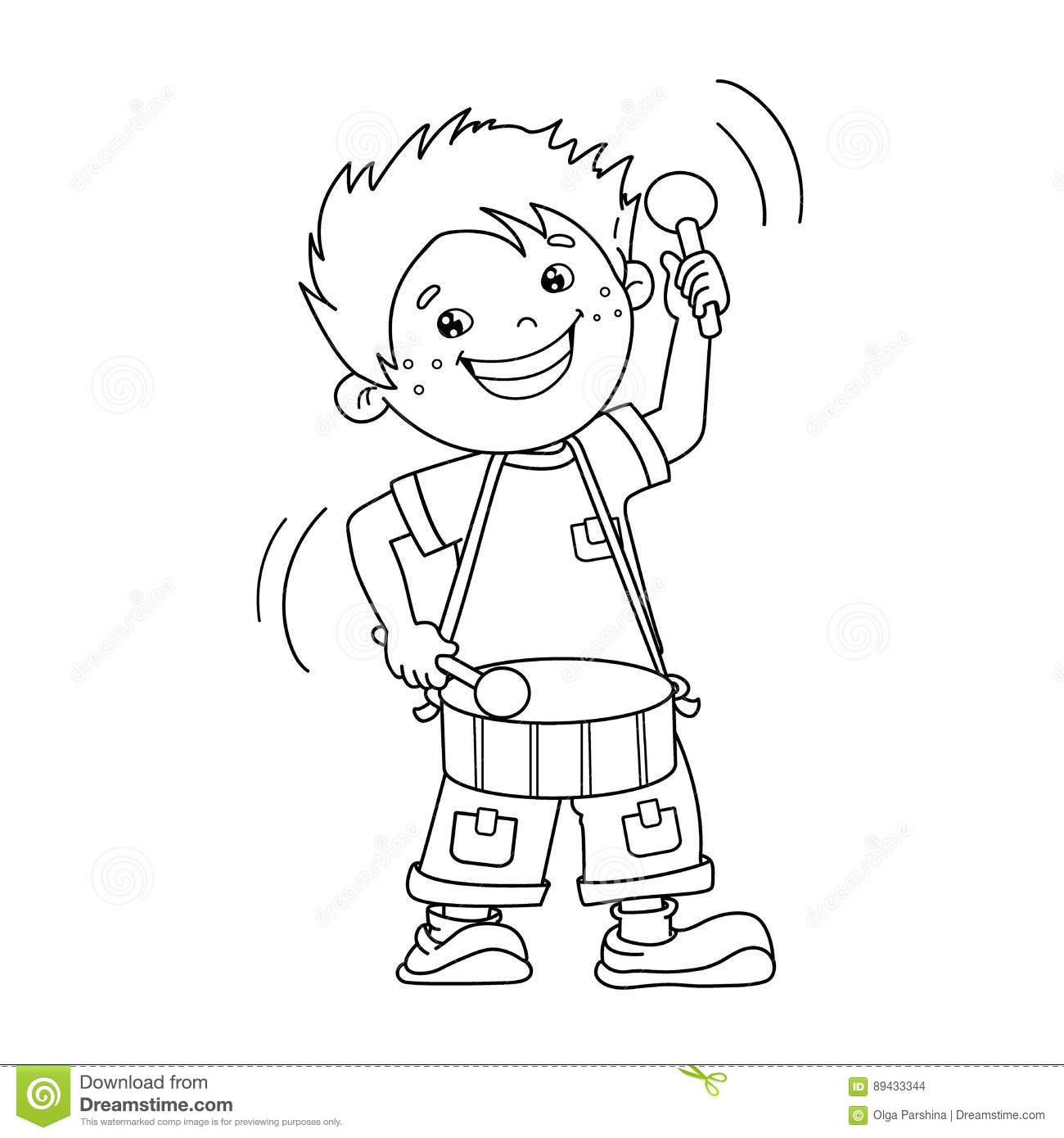 Coloring Page Outline Of Cartoon Boy Playing The Drum