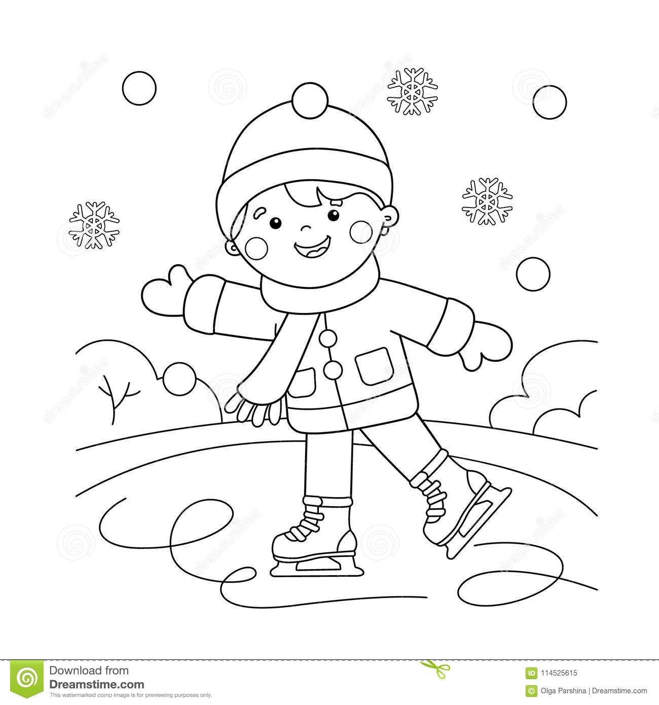Coloring Page Outline Of Cartoon Boy Skating. Winter