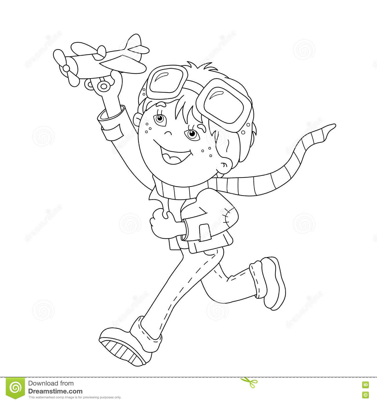 Coloring Page Outline Of Cartoon Boy With Toy Plane Stock
