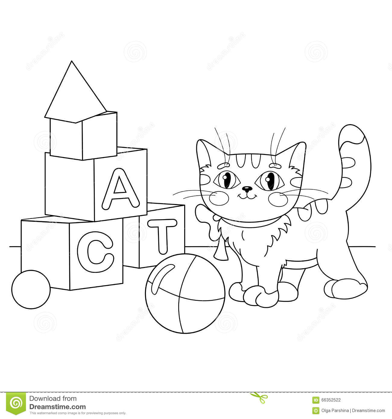 Coloring Page Outline Of Cartoon Cat Playing With Toys