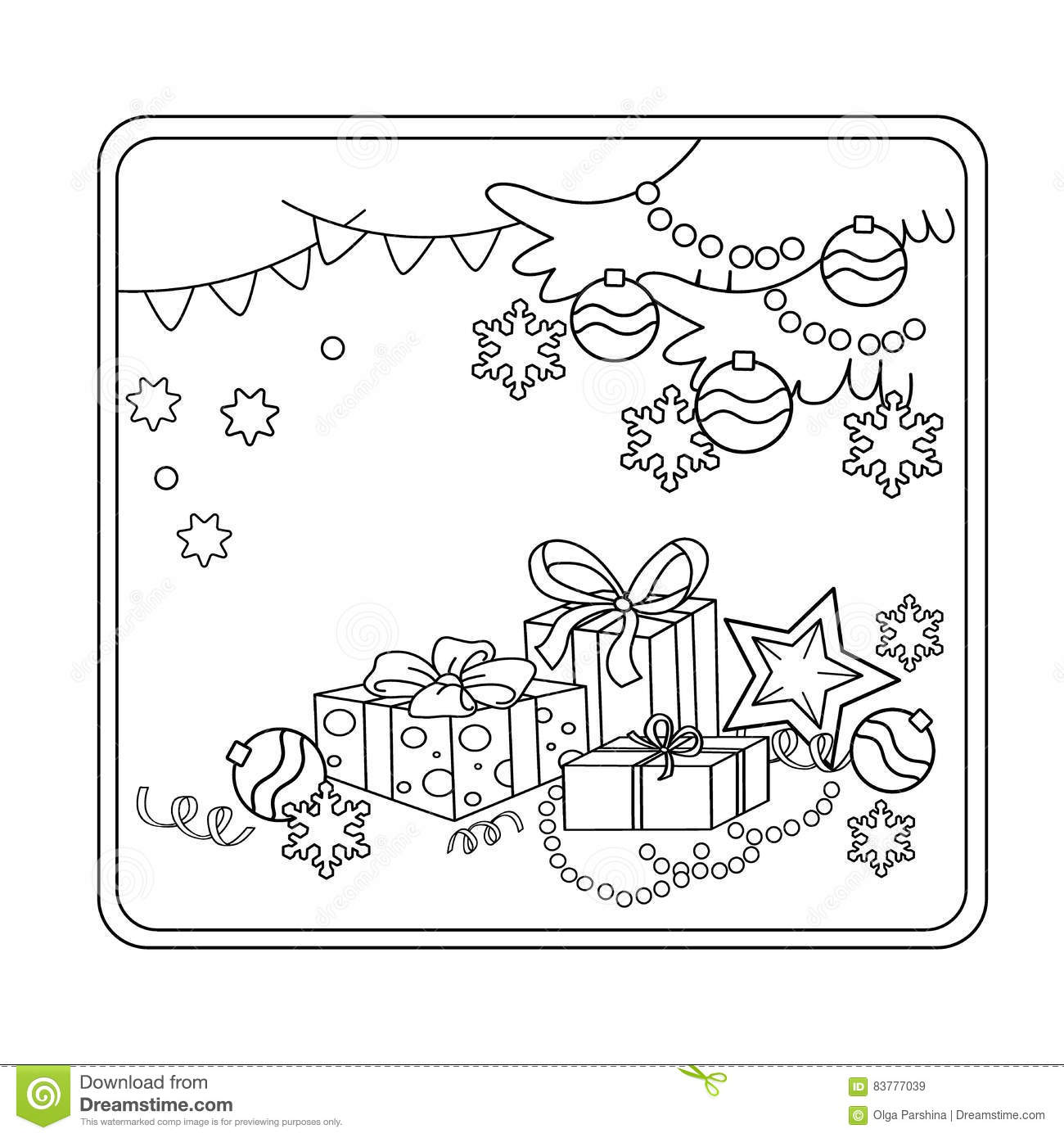 Coloring Page Outline Of Cartoon Christmas Ornaments And