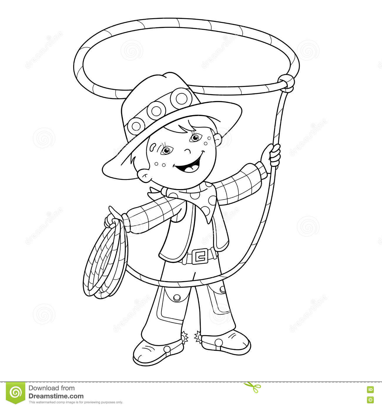 Coloring Page Outline Of Cartoon Cowboy With Lasso Stock
