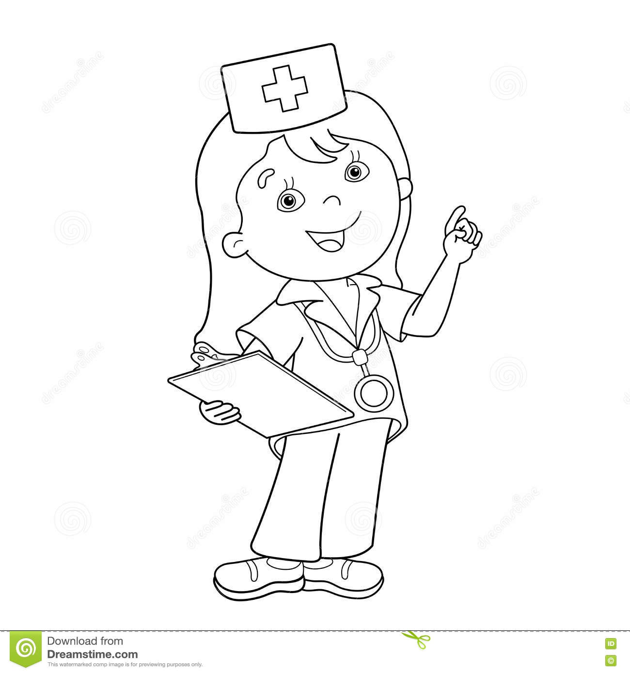 Coloring Page Outline Of Cartoon Doctor Stock Vector